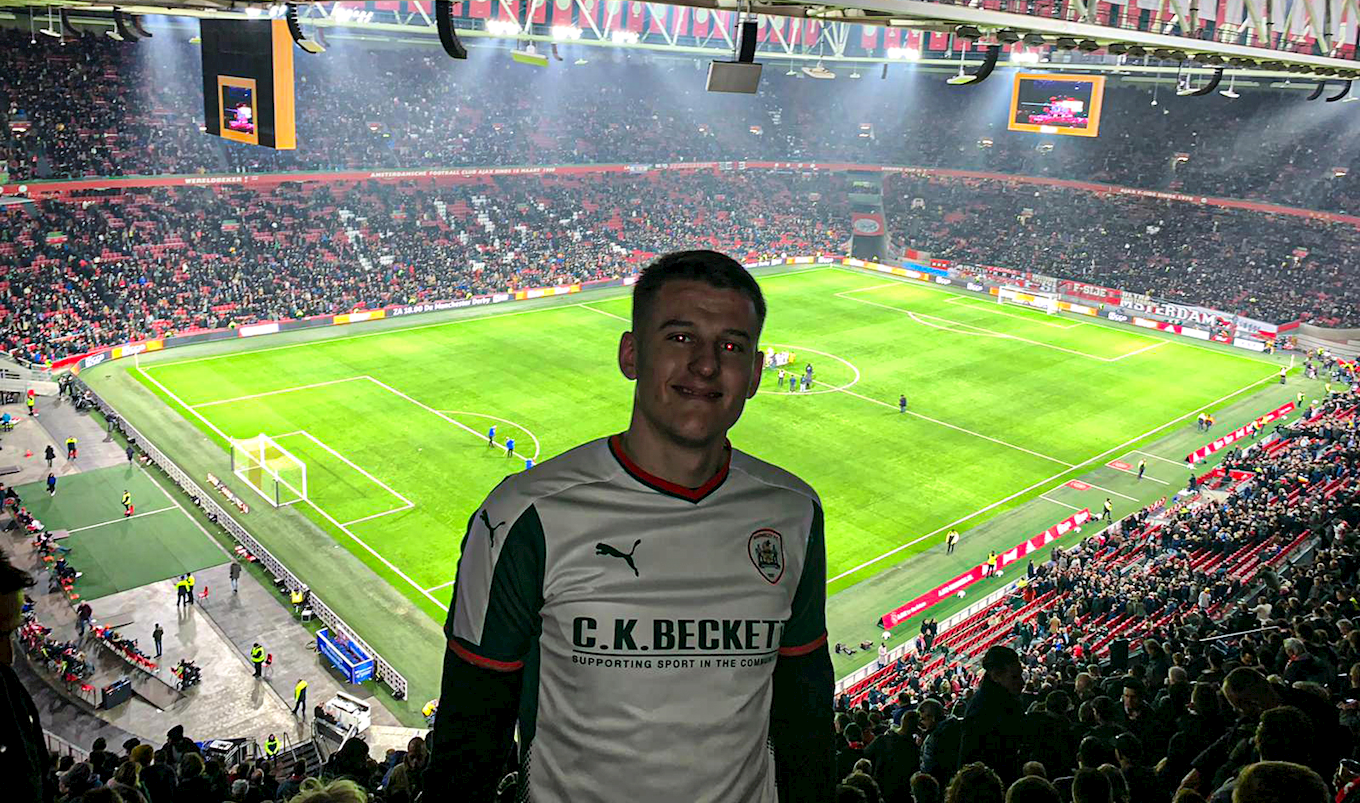 Callum wearing the colours in Amsterdam