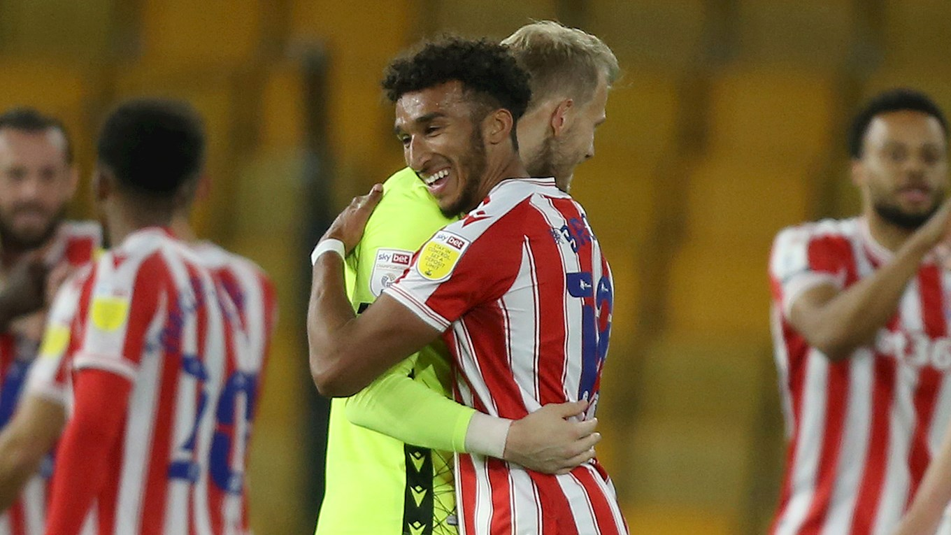 Jacob Brown and Adam Davies celebrate for Stoke City