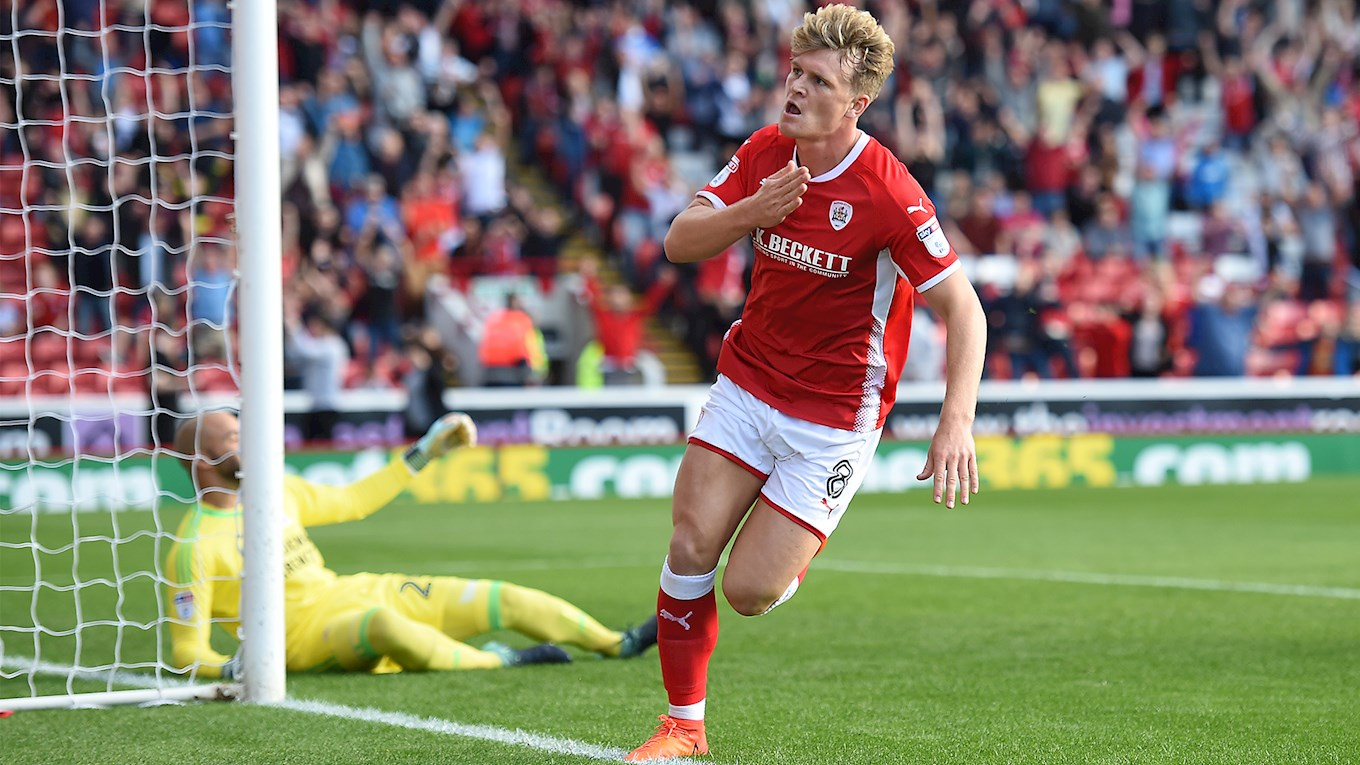 Cameron McGeehan celebrates after scoring against Middlesbrough.