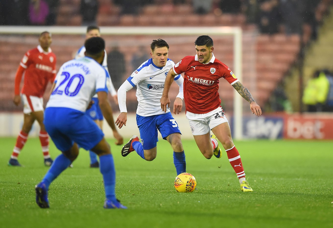 Alex Mowatt in action against Portsmouth
