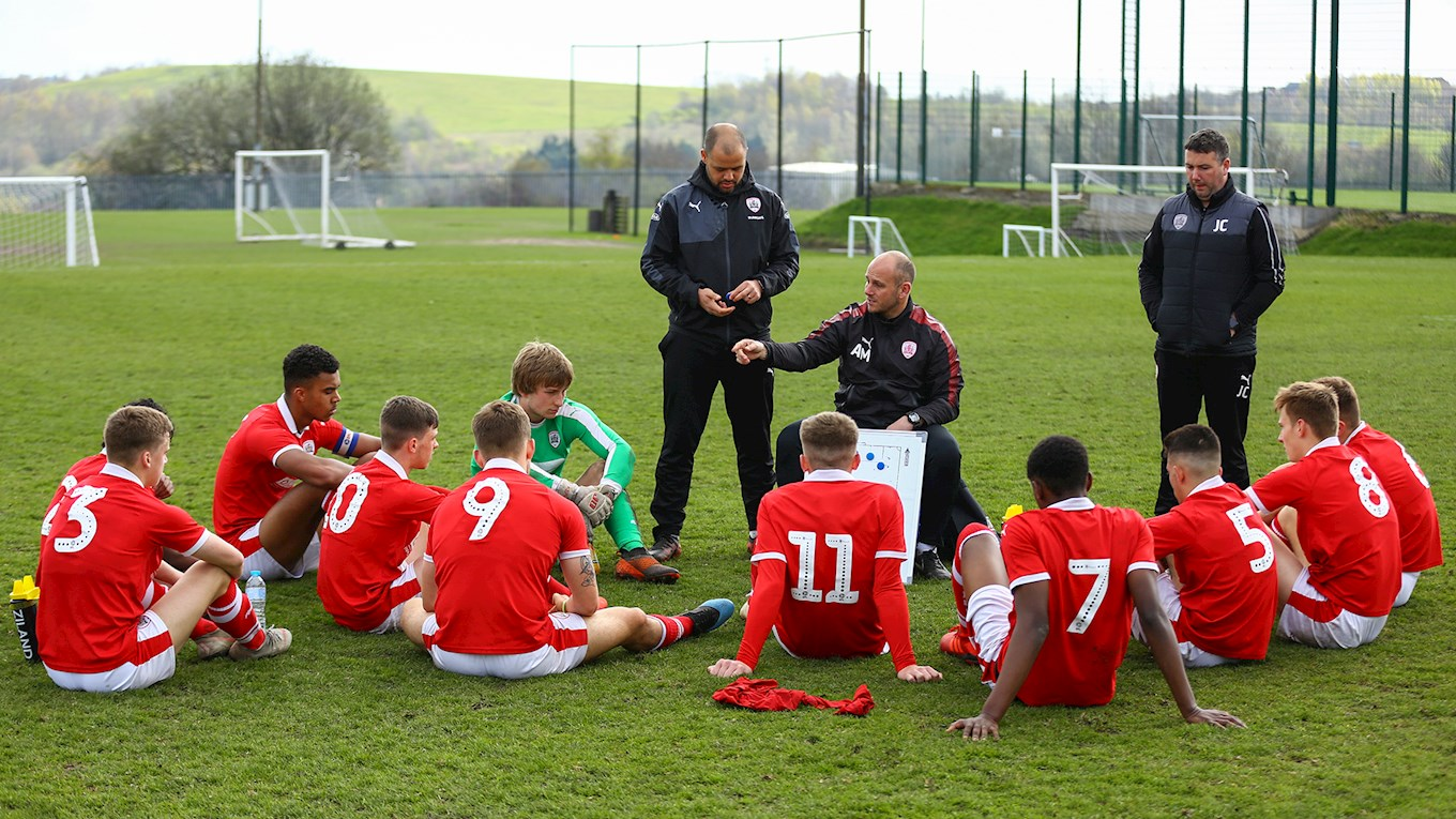 Tom Harban, Adam Murray and Jonathan Craig offer tactical advice to our U18s