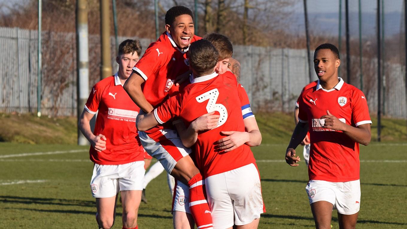 Our U23s celebrate scoring against Nottingham Forest
