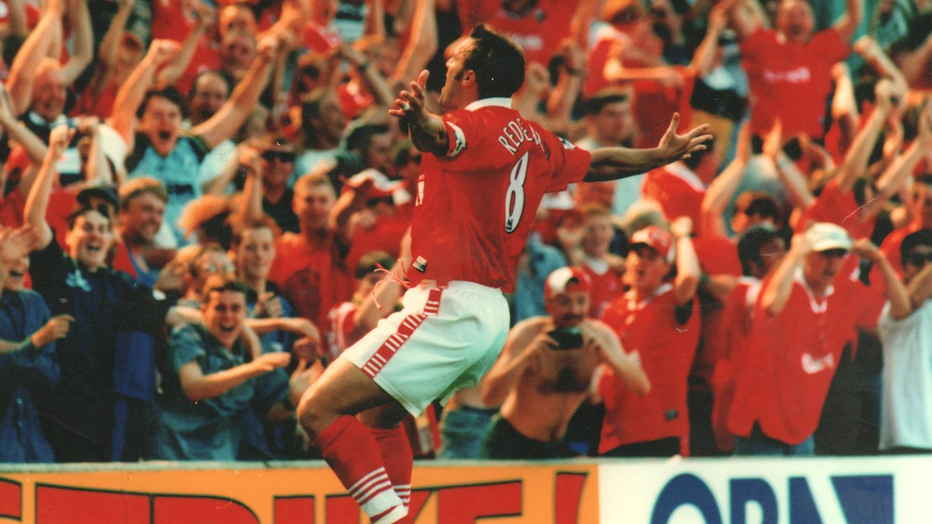 Neil Redfearn celebrates a famous goal